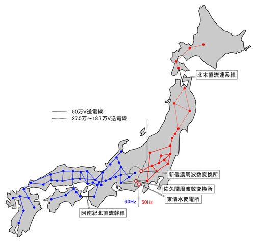 East and west Japan have incompatible power grids