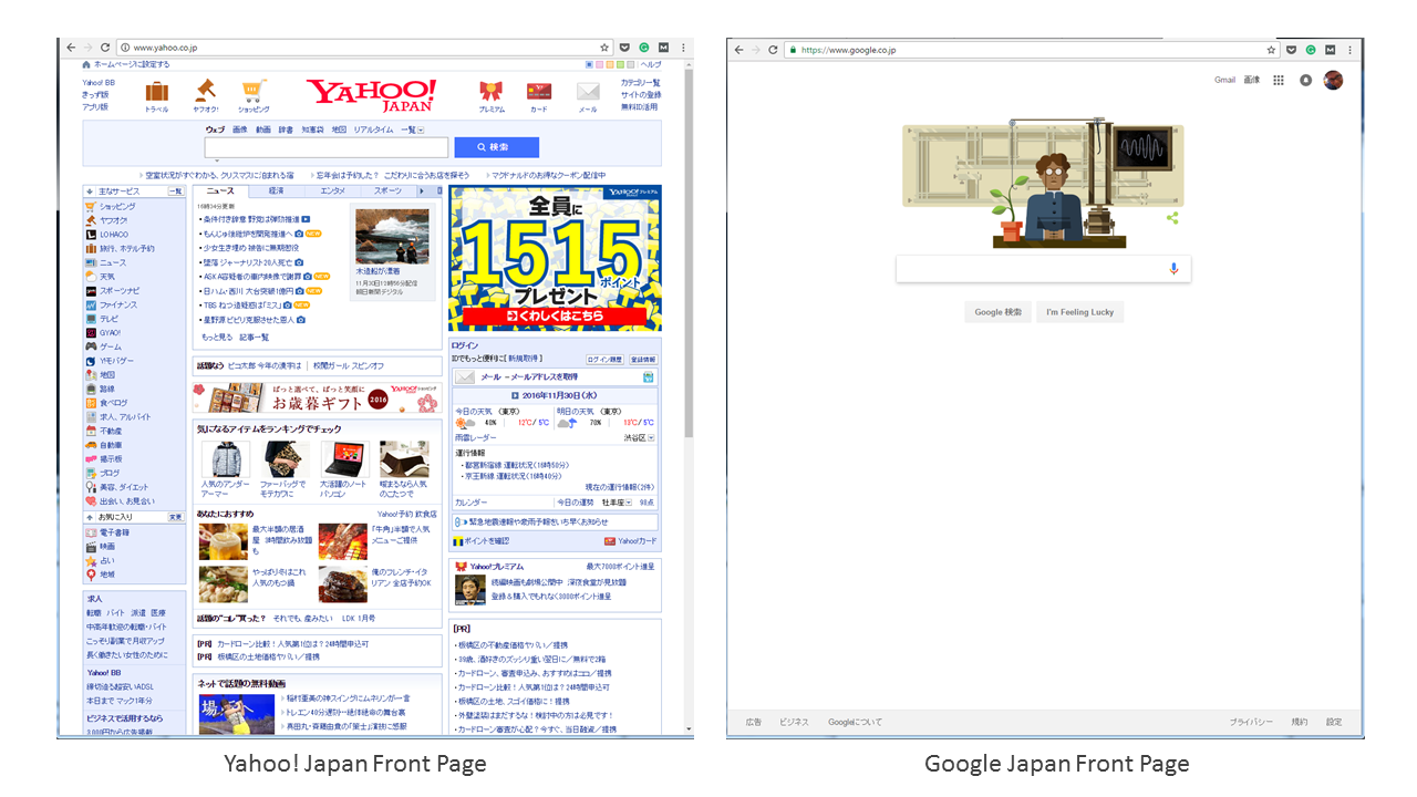 Yahoo Japan vs Google Japan screens