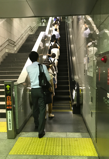 Tokyo people always line up on the left side of the escalator