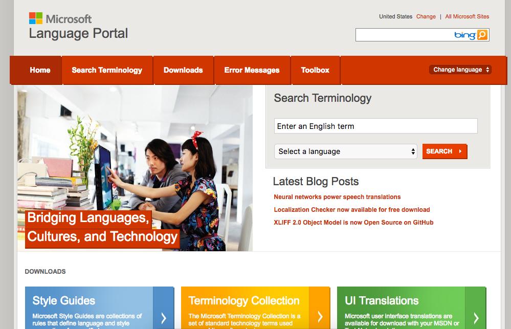 Microsoft language portal