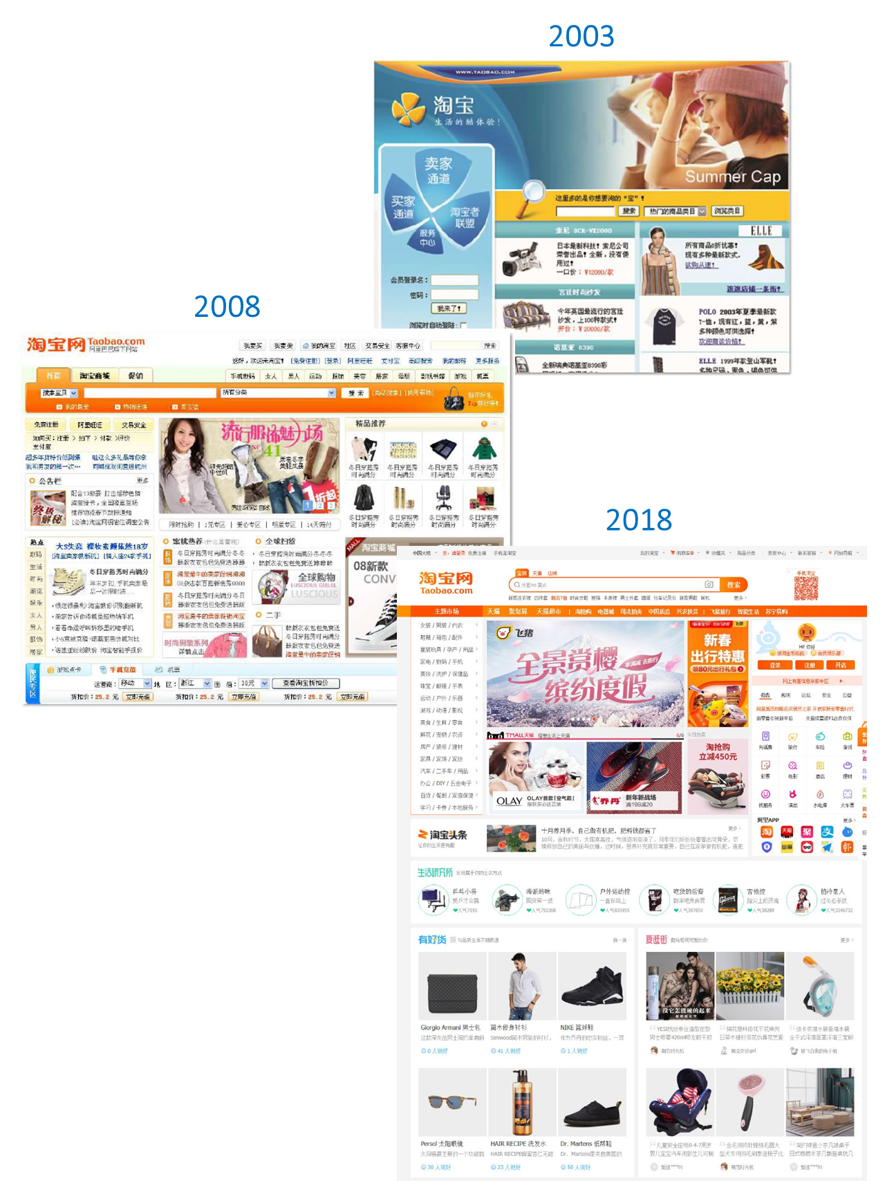 Taobao websites throughout the years